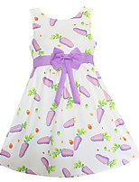 Girls Dress Purple Carrot Print  Party Pageant Casual Princess Kids Clothing Dresses