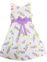 Девичий Платье На выход На каждый день Праздник Хлопок Бамбуковая ткань С принтом Лето Без рукавов