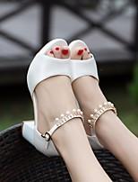 캐주얼 블러싱 핑크 여성용 샌들 봄 편안한 흰색