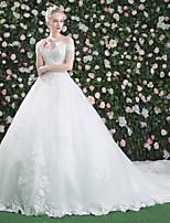 Prinzessin Hochzeitskleid - Klassisch & Zeitlos Schick & Modern Elegant & Luxuriös Schöner Rücken Königliche Schleppe Bateau - Linie