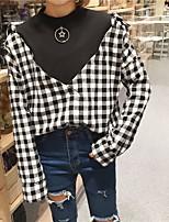 Для женщин На каждый день Рубашка V-образный вырез,Секси Шахматка Длинный рукав,Хлопок Полиэстер