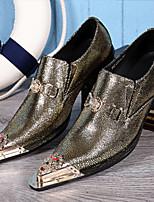 Черный Зеленый-Для мужчин-Свадьба Для офиса Для вечеринки / ужина-Кожа-На плоской подошве-Удобная обувь Оригинальная обувь Формальная