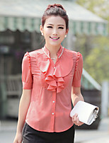 Women's Casual/Daily Work Simple Blouse,Solid Stand Short Sleeve Cotton