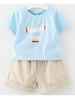 Unisex Casual/Daily Sports Print Sets,Cotton Spring Fall Short Sleeve Clothing Set