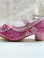 Girls' Heels Spring Fall Comfort Glitter Dress Casual Flat Heel Hook & Loop Blushing Pink Silver Gold Walking