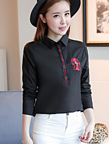 Women's Going out Vintage Shirt,Solid Shirt Collar Long Sleeve Cotton