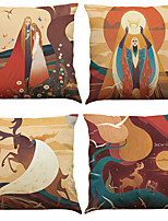 Set of 4 Fairy Tales Pattern  Linen Pillowcase Sofa Home Decor Cushion Cover