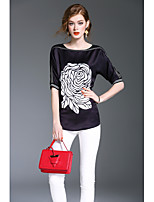 XSSLWomen's Going out Casual/Daily Work Vintage Simple Street chic Spring Summer BlousePrint Round Neck  Sleeve Polyester Medium