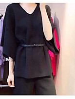 Women's Casual/Daily Vintage Summer Sweater Pant Suits,Solid Round Neck 1/2 Length Sleeve Micro-elastic