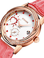 Women's Fashion Watch Swiss Quartz Genuine Leather Band Red Pink Rose Red Peach Rose White