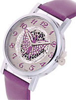 Women's Fashion Watch Quartz Leather Band Black White Red Purple