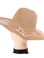 Spring Letter Embroidery Outdoor Beach Tourism Wide Brim Straw Hat Women Folding Sun Cap
