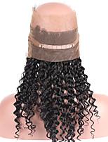 360 rendas fechamento frontal brailian vingin cabelo humano encaracolado frontal 360 do laço com o cabelo do bebê fio natural pré arrancou
