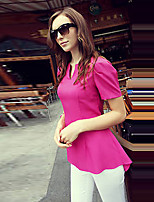 Women's Going out Casual/Daily Holiday Sexy Simple Cute All Seasons Summer Blouse,Solid V Neck Short Sleeve Rayon Medium