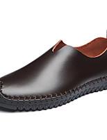 Черный Кофейный-Для мужчин-Для прогулок Для офиса Повседневный Для вечеринки / ужина-КожаУдобная обувь-Мокасины и Свитер