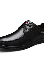 Men's Oxfords Spring Fall Light Soles Leather Office & Career Walking Flat Heel Ruched Black Brown Blue