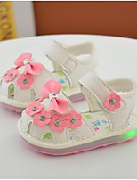 Girls' Baby Sandals Comfort PU Spring Fall Casual Comfort Flat Heel White Blushing Pink 1in-1 3/4in
