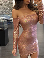 Women's Going out Party Sexy Simple Bodycon Dress,Galaxy Boat Neck Mini Long Sleeve Polyester Spring Fall Mid Rise Micro-elastic Medium