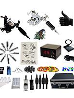 Kit de Tatuagem Completo 2xMáquina Tatuagem de aço para linhas e sombras 2 máquinas de tatuagem LCD de alimentaçãoTintas enviados