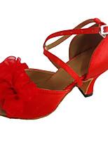 Customized Heel Women's Latin Dance Shoes Red Open Toe Dancing Shoe with Flower