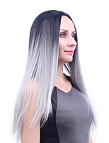 24 inch Long Black To Grey Ombre Color Straight Wig African American Heat Resistant Synthetic Wig