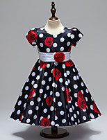 Ball Gown Knee-length Flower Girl Dress - Satin Short Sleeve Jewel with Bow(s) Flower(s) Pattern / Print Sash / Ribbon
