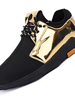 Men's Athletic Shoes Comfort PU Spring Fall Outdoor Comfort Lace-up Flat Heel Gold Black Silver Under 1in