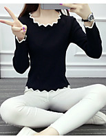 Women's Going out Casual/Daily Holiday Cute Regular Pullover,Print Round Neck Long Sleeve Cotton Spring Fall Thin Micro-elastic