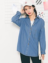 Women's Casual/Daily Simple Shirt,Solid Shirt Collar Long Sleeve Others