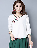 Women's Casual/Daily Simple Shirt,Solid V Neck ¾ Sleeve Cotton Linen Opaque Thin