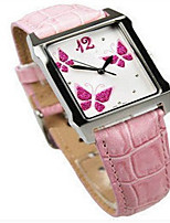 Women's Fashion Watch Quartz Genuine Leather Band Black White Pink