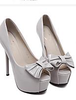 Белый Черный Серый-Для женщин-Повседневный-ПолиуретанБосоножки-Обувь на каблуках