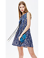 Women's Going out Casual/Daily Holiday Simple Street chic Sophisticated A Line Sheath Dress,Floral Jacquard Round Neck Above Knee