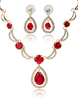 Red Green Crystal Wedding Bridal Party Jewelry Sets Necklace Earrings Set Gold Silver Plated African Beads