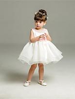 Ball Gown Short / Mini Flower Girl Dress - Organza Jewel with Beading Sash / Ribbon Pleats