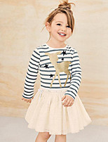 Girl's Going out Casual/Daily Striped Patchwork Dress,Rayon Polyester Spring Fall Long Sleeve