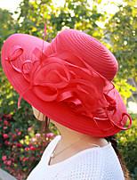 Women's Handmade Artificial Flower Mesh Floral Summer Or Spring Simple Sun Bucket Hats Caps