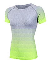 Women's Running Suit Exercise Gradient T-shirt Quick Dry Fitness Yoga Short Sleeve