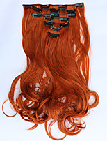 7pcs/Set 130g Orange 50cm Hair Extension Clip In Synthetic Hair Extensions