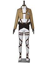 Inspirado por Attack on Titan Mikasa Ackermann Animé Disfraces de cosplay Trajes Cosplay Un Color Manga LargaTop Pantalones Delantal
