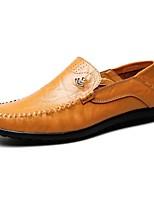 Желтый-Для мужчин-Для офиса Повседневный-Кожа-На плоской подошве-Удобная обувь-Мокасины и Свитер