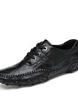 Черный Коричневый-Для мужчин-Для прогулок Повседневный Для занятий спортом-Кожа-На плоской подошве-Удобная обувь-Мокасины и Свитер