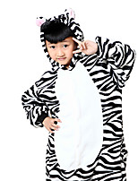 Kigurumi Pajamas Zebra Leotard/Onesie Festival/Holiday Animal Sleepwear Halloween White Black Animal Print Flannel Cosplay Costumes For  kid