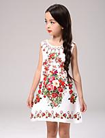 Vestido Chica de Un Color Floral Algodón Poliéster Manga Corta Todas las Temporadas