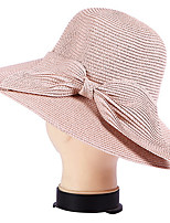 UV Bow Dome Seaside Summer Straw Hat Folding Beach Hat Cap
