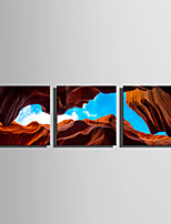 E-HOME Stretched Canvas Art Through The Blue Sky of The Rock Decoration Painting Set Of 3