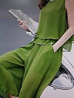 Chemise Robes Costumes Femme,Couleur Pleine Travail simple Eté Manche Longues Col de Chemise Coton