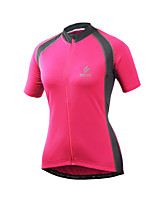 Arsuxeo Cycling Jersey Women's Short Sleeve Bike Quick Dry Front Zipper Reflective Trim/Fluorescence Soft Held-In Sensation JerseySpandex