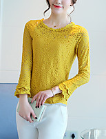 Women's Going out Casual/Daily Simple Boho Summer Fall Blouse,Solid Round Neck Long Sleeve Silk Cotton Opaque