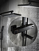 Antique Centerset Thermostatic  Rain Shower with  Ceramic Valve Two Handles Three Holes for  Oil-rubbed Bronze  Shower Faucet